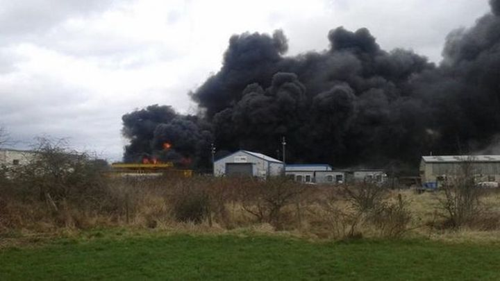 Firefighters Fight A Major Blaze At Eaglecliffe Chemical Storage Facility